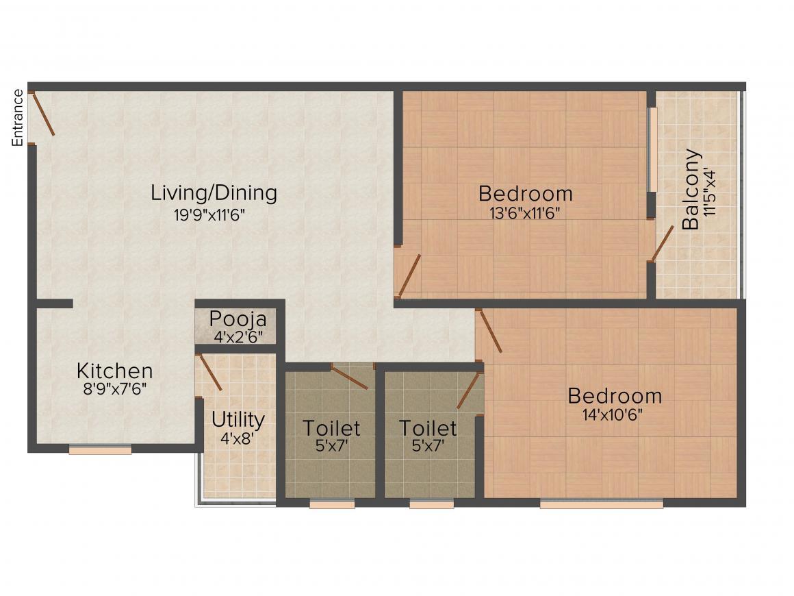 Lakvin Lakvin Valley Residency Floor Plan: 2 BHK Unit with Built up area of 1065 sq.ft 1