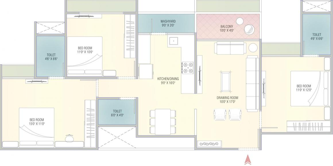 Ratna Turquoise Greens Floor Plan: 3 BHK Unit with Built up area of 916 sq.ft 1