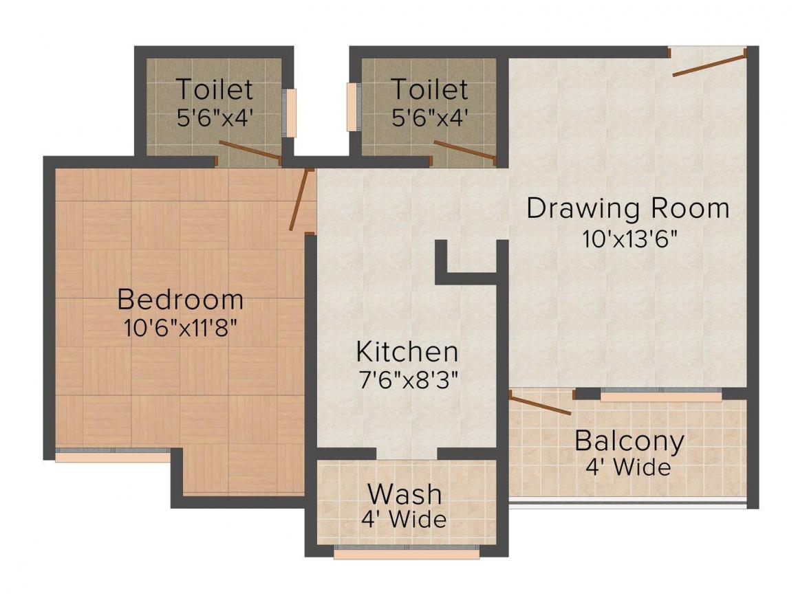 Pramukh House Pramukh Sangam Floor Plan: 1 BHK Unit with Built up area of 850 sq.ft 1