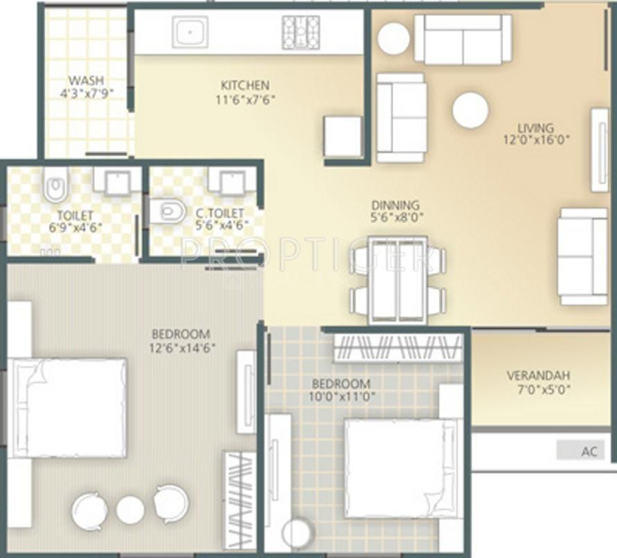 Ozone Ozone City Floor Plan: 2 BHK Unit with Built up area of 1053 sq.ft 1