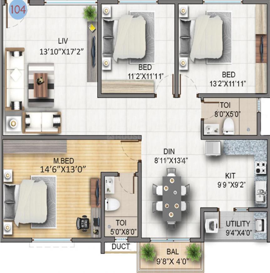 Sumadhura Soham Phase 2 Floor Plan: 3 BHK Unit with Built up area of 1163 sq.ft 1