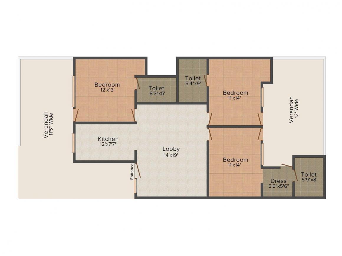 Floor Plan Image of 0 - 1500.0 Sq.ft 3 BHK Independent Floor for buy in Radhey Krishna Floors, B - 504