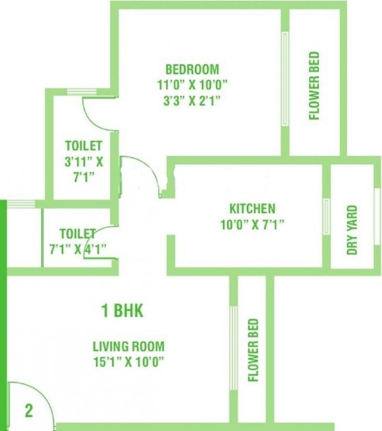 Kamanwala Manavsthal Floor Plan: 1 BHK Unit with Built up area of 715 sq.ft 1