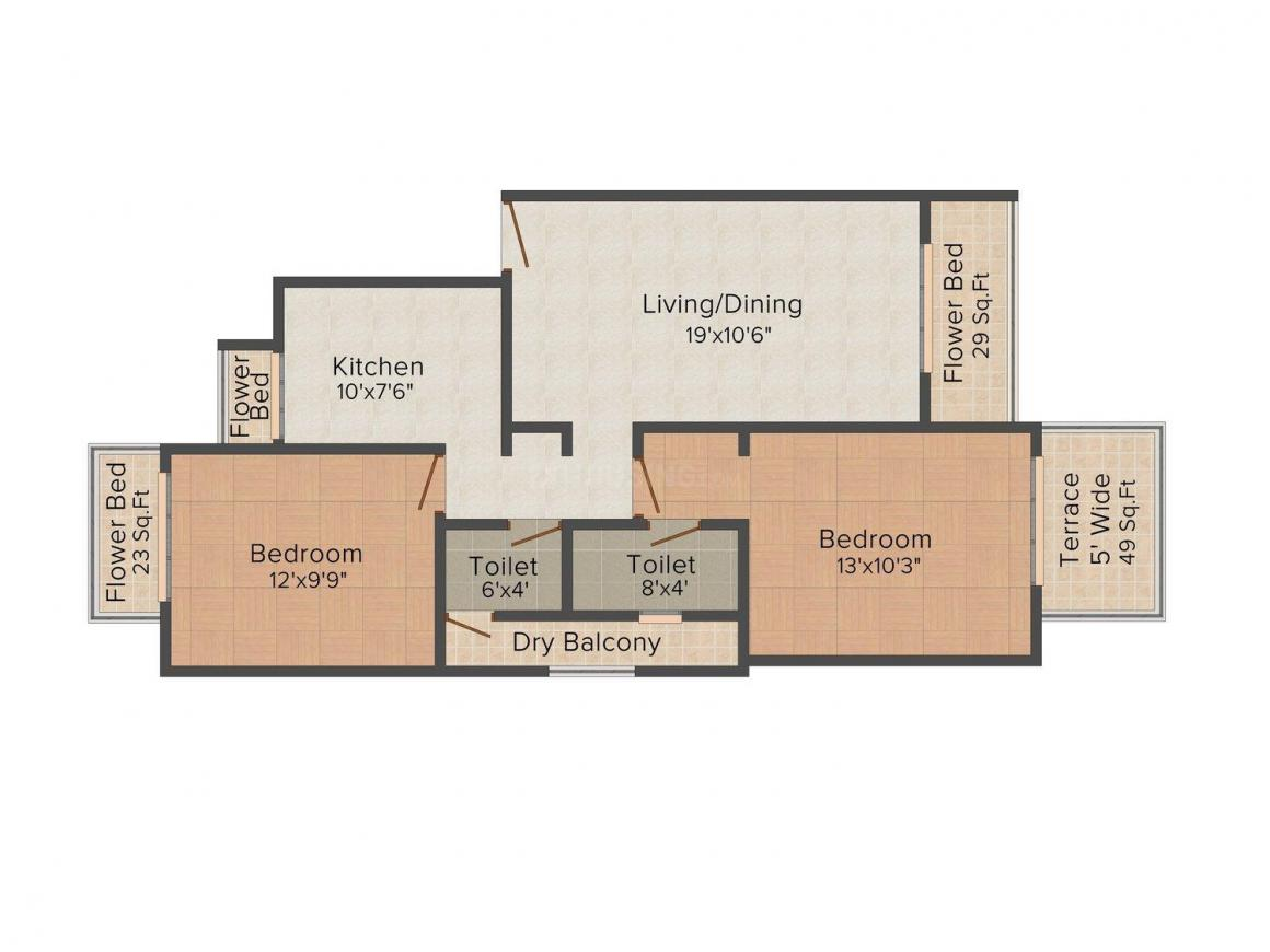 Floor Plan Image of 1126.0 - 1157.0 Sq.ft 2 BHK Apartment for buy in Monarch Ambience