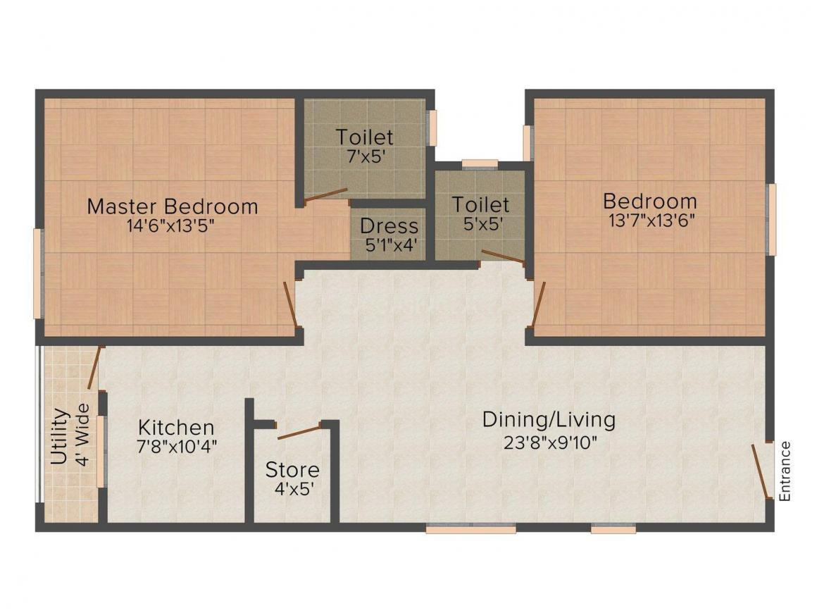 Axis Pleasant Apartments Floor Plan: 2 BHK Unit with Built up area of 1292 sq.ft 1