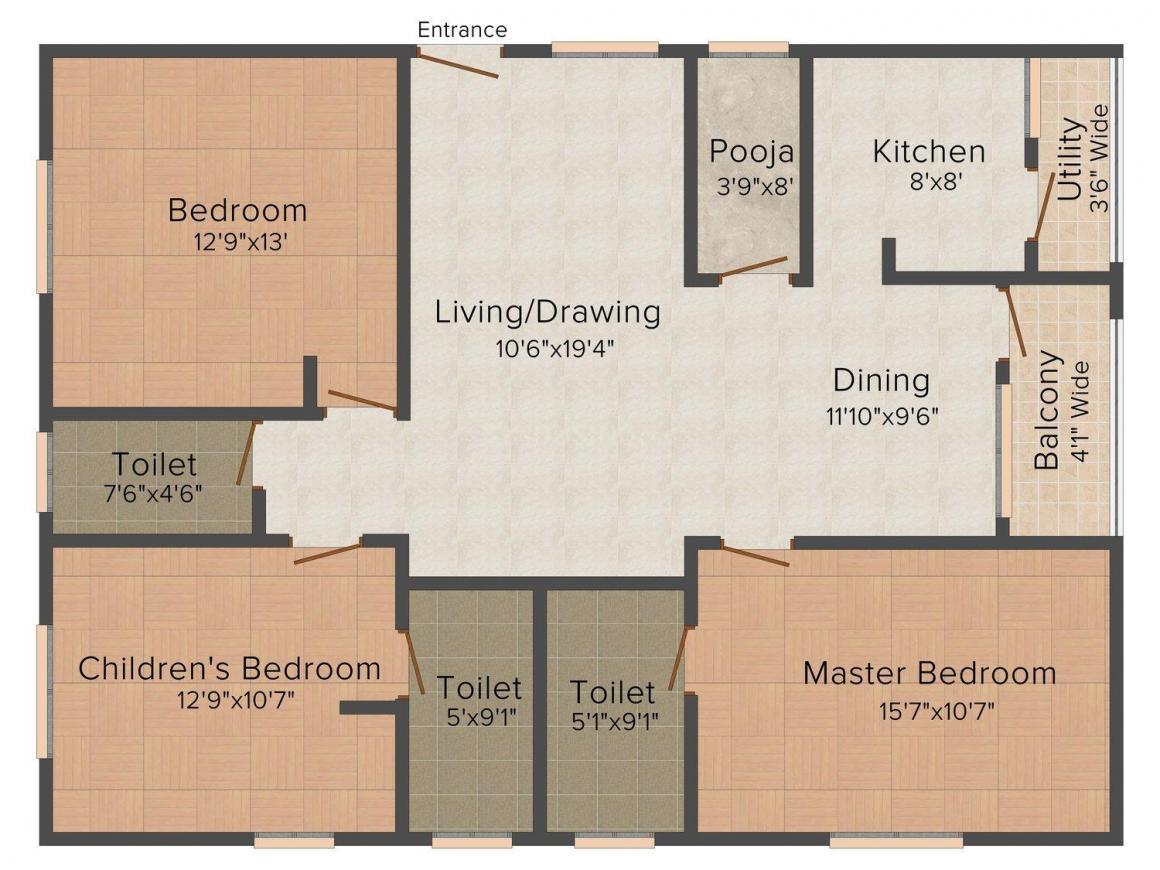 Floor Plan Image of 1100 - 1500 Sq.ft 2 BHK Apartment for buy in Trilok JMR's green wood