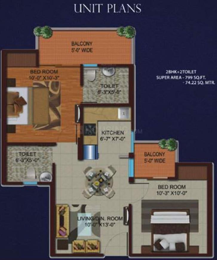 Migsun Kiaan Floor Plan: 2 BHK Unit with Built up area of 799 sq.ft 1