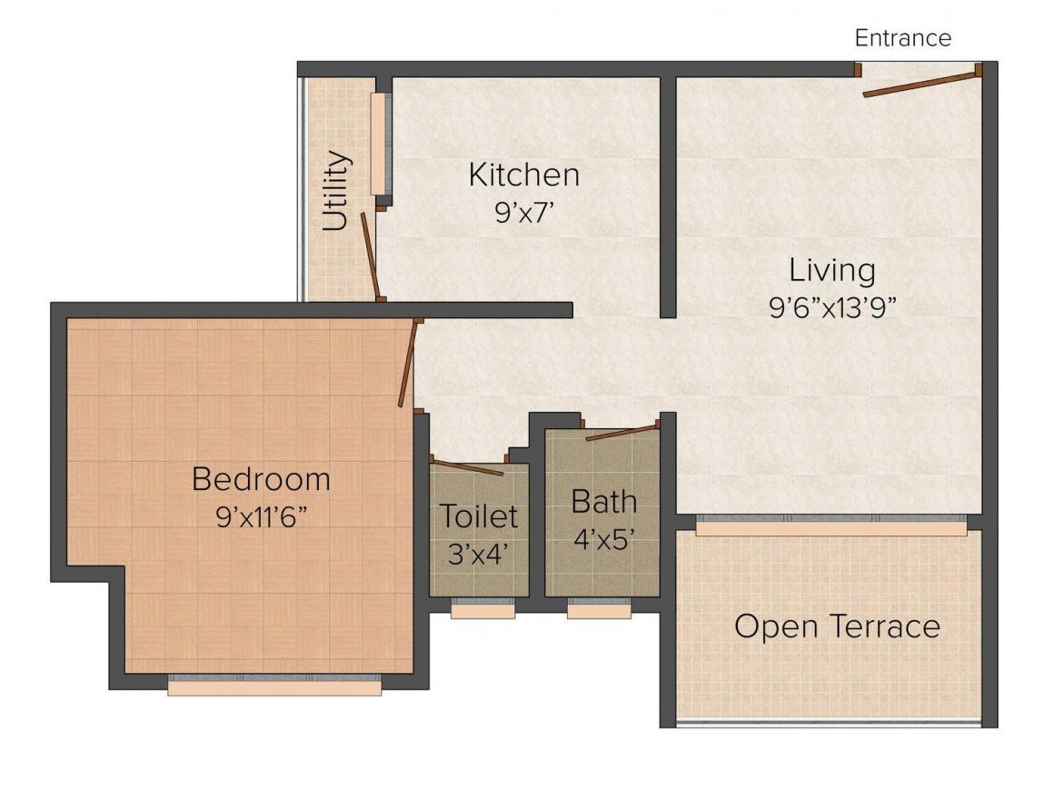 Floor Plan Image of 620.0 - 840.0 Sq.ft 1 BHK Apartment for buy in Bhagwati Sagar Neel