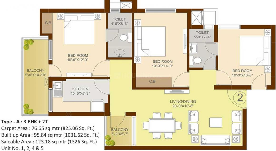 Sare Green Parc 3 Floor Plan: 3 BHK Unit with Built up area of 825 sq.ft 1
