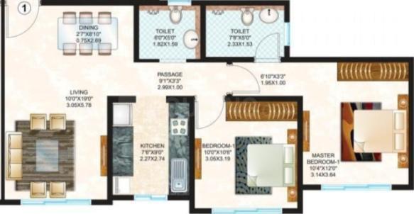 Sheth Creators Vasant Oasis Petunia Bldg 8 Floor Plan: 2 BHK Unit with Built up area of 670 sq.ft 1