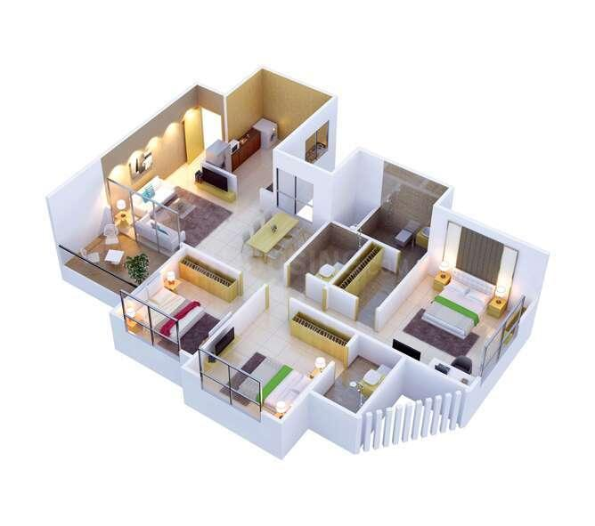 VTP Celesta Floor Plan: 3 BHK Unit with Built up area of 1153 sq.ft 1