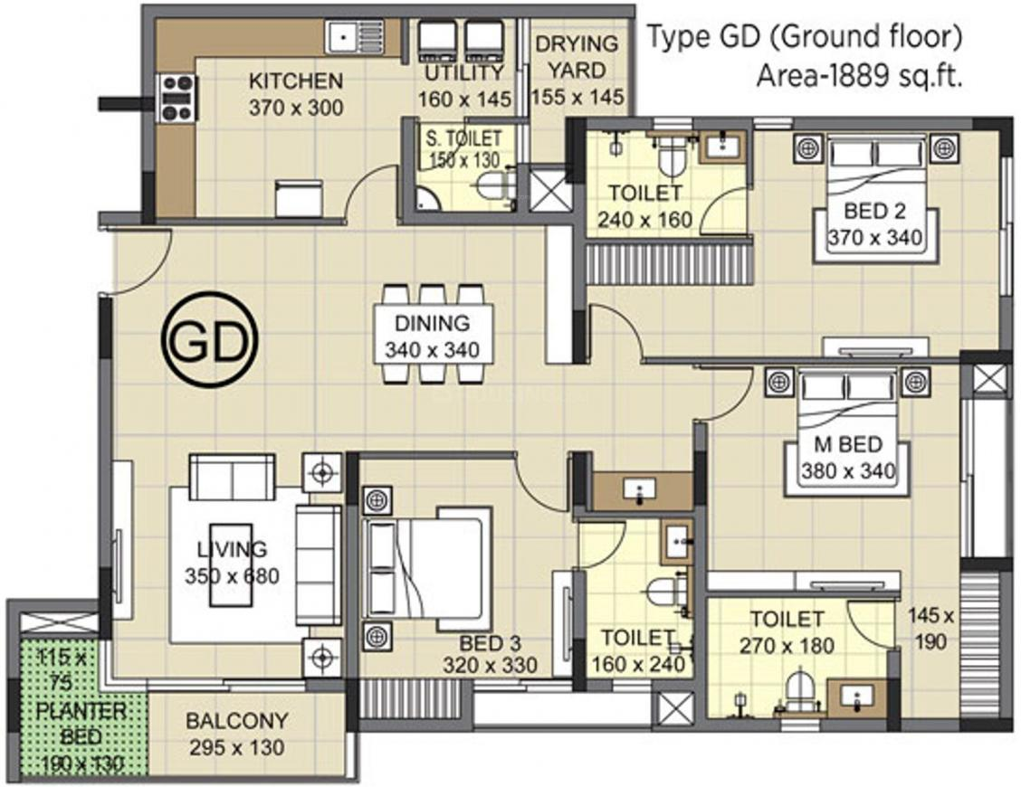 Skyline Skyline Grand Terrace Floor Plan: 3 BHK Unit with Built up area of 1889 sq.ft 1