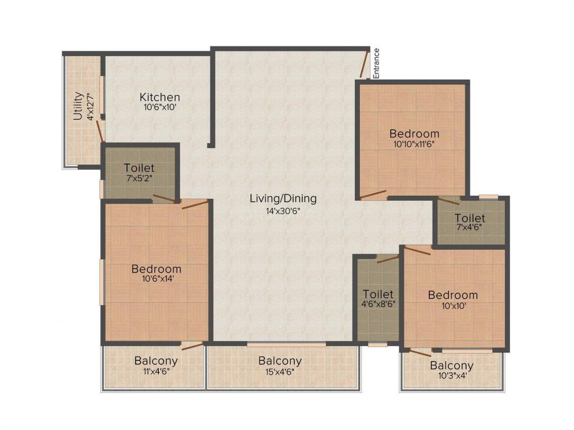Floor Plan Image of 1154.0 - 1660.0 Sq.ft 2 BHK Apartment for buy in Vandana Sarovar