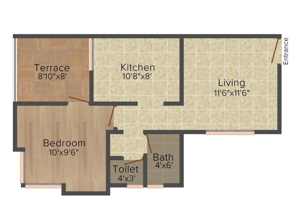 Kuber Laxmi Kasturi Classic Floor Plan: 1 BHK Unit with Built up area of 597 sq.ft 1