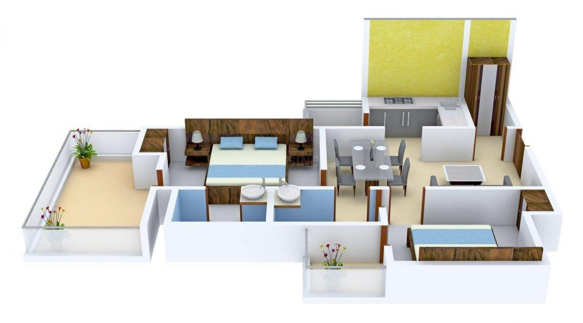 Floor Plan Image of 1070.0 - 1350.0 Sq.ft 2 BHK Apartment for buy in Galaxy North Avenue 2