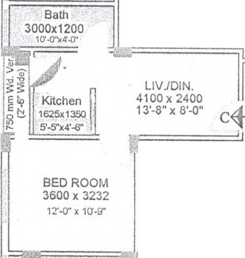 Sree Vinayak Plaza Floor Plan: 1 BHK Unit with Built up area of 451 sq.ft 2