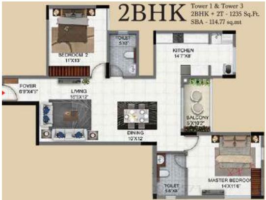 Salarpuria Sattva Exotic Floor Plan: 2 BHK Unit with Built up area of 1235 sq.ft 1