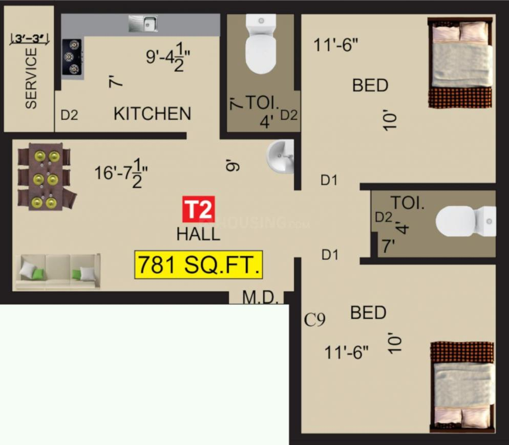 VGK Mithran Floor Plan: 2 BHK Unit with Built up area of 781 sq.ft 1