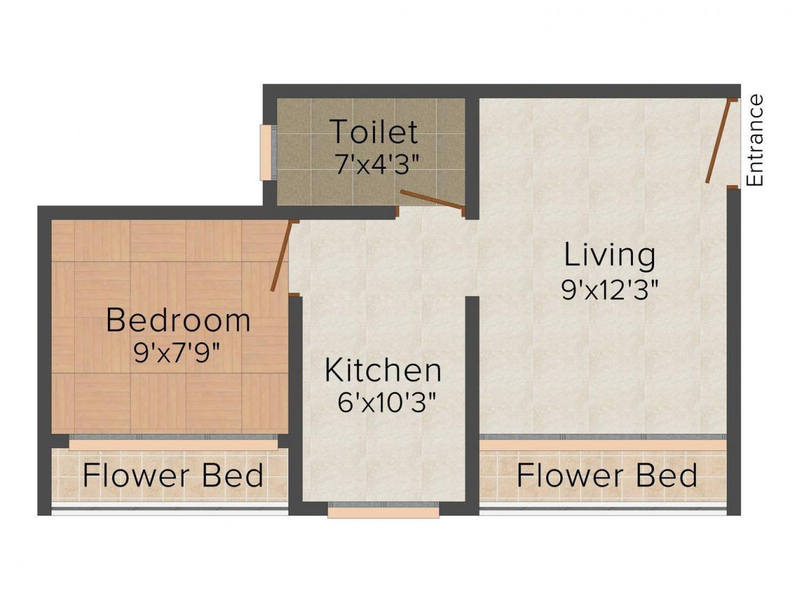Floor Plan Image of 0 - 510.0 Sq.ft 1 BHK Apartment for buy in Innovative Park 2