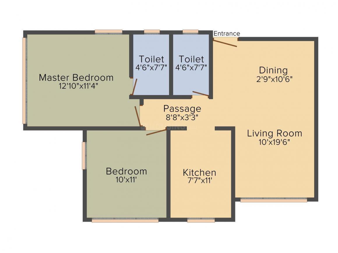 Floor Plan Image of 670 - 1009 Sq.ft 2 BHK Apartment for buy in Triveni Mont Mahavir Ashish CHSL