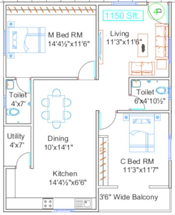 NSK Platina Floor Plan: 2 BHK Unit with Built up area of 1055 sq.ft 1