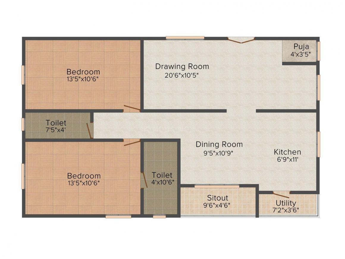 Floor Plan Image of 0 - 950.0 Sq.ft 2 BHK Apartment for buy in Line Lakshmi Annapurna Residency