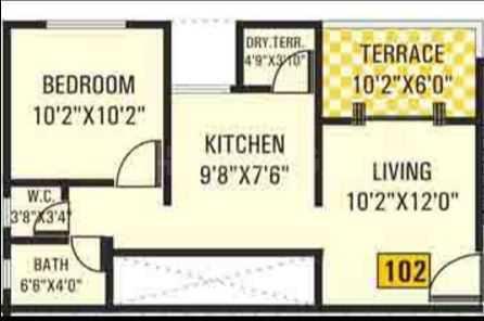 Alpine Aura Floor Plan: 1 BHK Unit with Built up area of 592 sq.ft 1