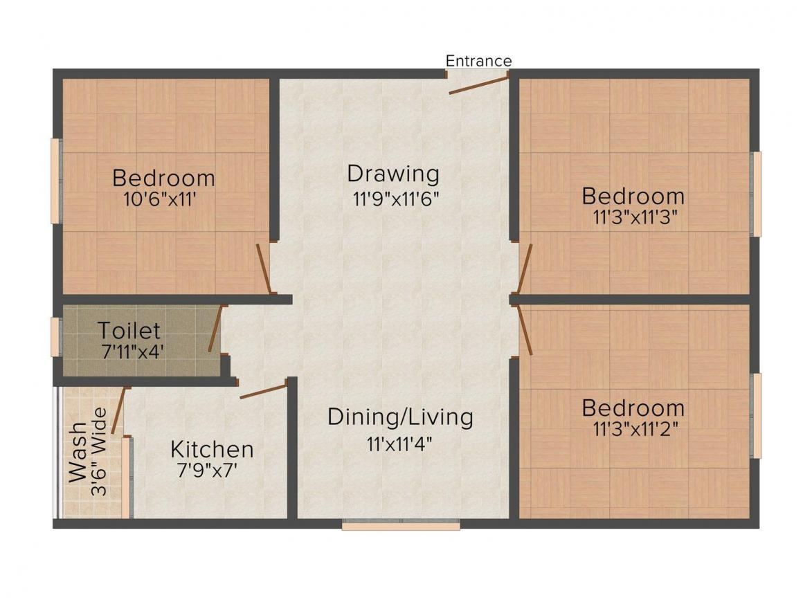 Floor Plan Image of 900.0 - 1100.0 Sq.ft 2 BHK Apartment for buy in GM Enclave