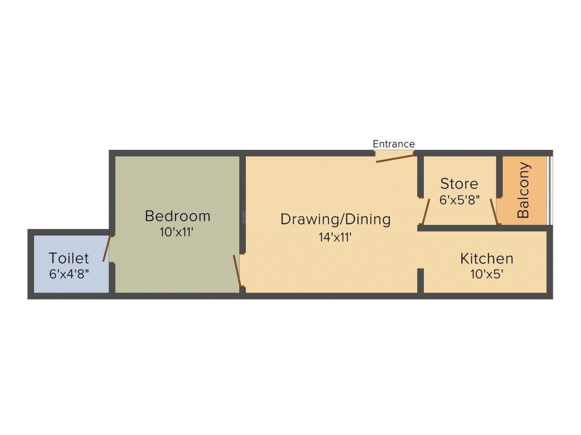 Floor Plan Image of 550.0 - 950.0 Sq.ft 1 BHK Apartment for buy in APS Heights