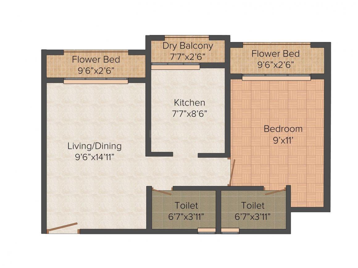 Raj Antila Floor Plan: 1 BHK Unit with Built up area of 675 sq.ft 1