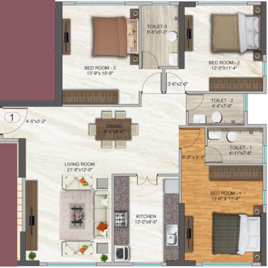 Dhaval Sunrise Orlem 2A Phase 1 Floor Plan: 3 BHK Unit with Built up area of 1105 sq.ft 1