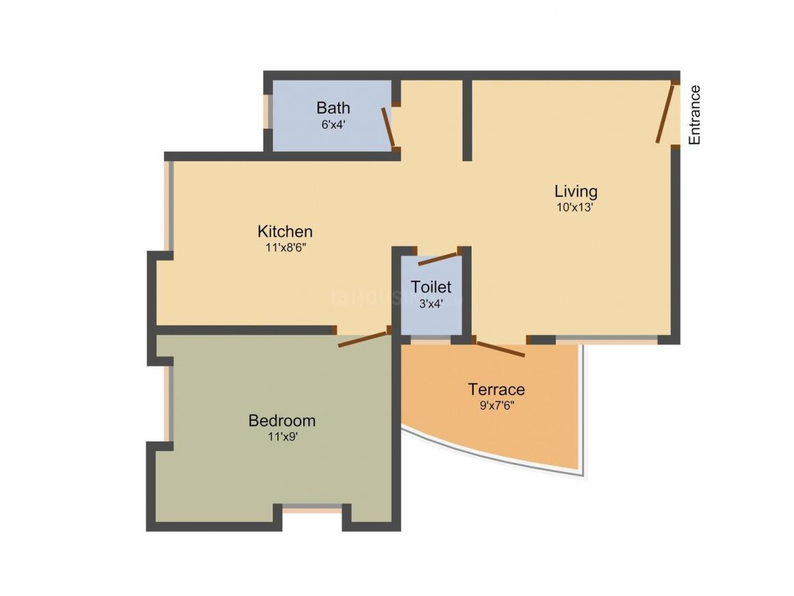 Pragati Lush Green Residency Floor Plan: 1 BHK Unit with Built up area of 597 sq.ft 1