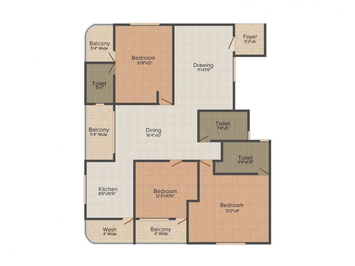 Amit Aditya Floors - II Floor Plan: 3 BHK Unit with Built up area of 1620 sq.ft 1