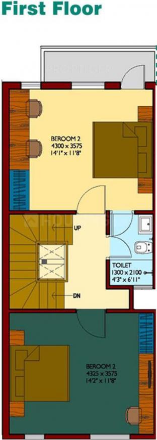 Inno Geocity Villas Floor Plan: 2 BHK Unit with Built up area of 1136 sq.ft 2