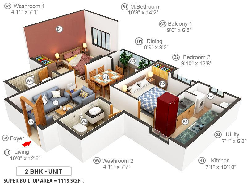 TVS Emerald LightHouse Floor Plan: 2 BHK Unit with Built up area of 1115 sq.ft 1