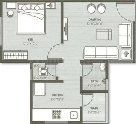Divyajivan City Floor Plan: 1 BHK Unit with Built up area of 594 sq.ft 1