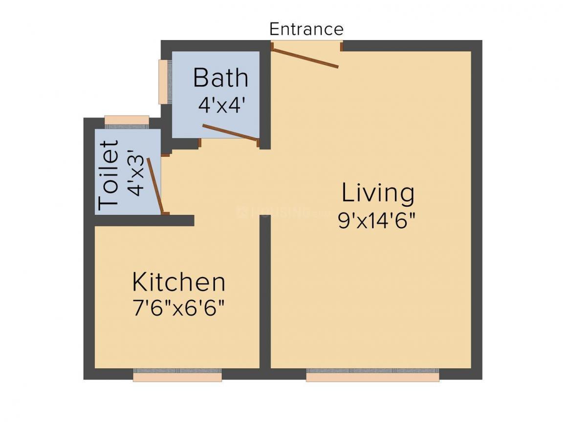 Floor Plan Image of 315.0 - 650.0 Sq.ft 1 RK Studio Apartment for buy in Vedant Sai Vidya Apartment