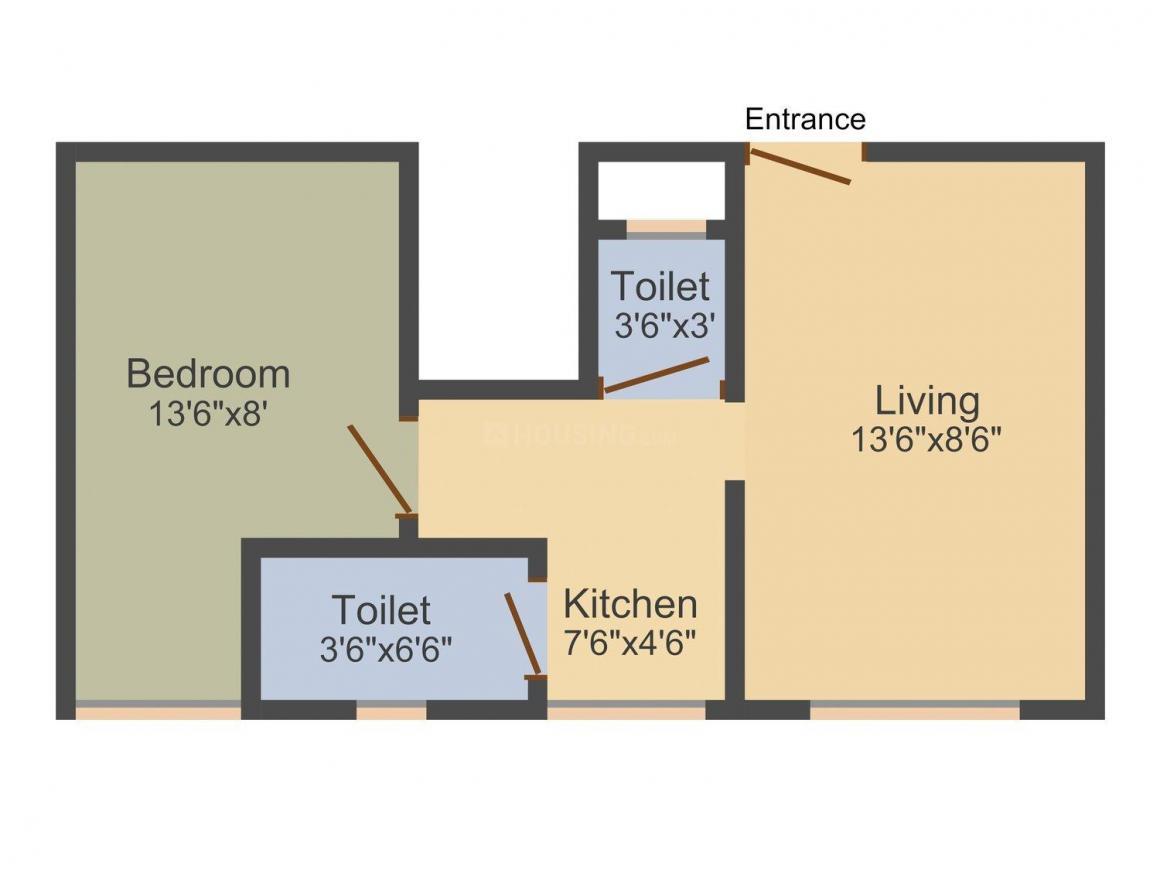Floor Plan Image of 300 - 702 Sq.ft 1 RK Apartment for buy in Nirmiti Lambodar Heights