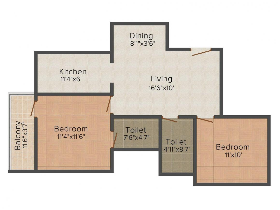 Floor Plan Image of 763.0 - 1269.0 Sq.ft 2 BHK Apartment for buy in Sudarsan Sudarsan Acres