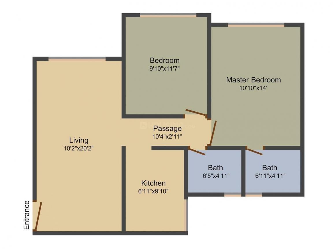 Floor Plan Image of 643 - 737 Sq.ft 2 BHK Apartment for buy in Raghvendra Royal