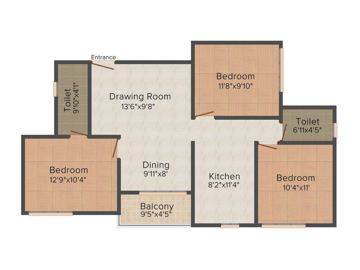 Floor Plan Image of 0 - 1100 Sq.ft 3 BHK Apartment for buy in Ashiana Lilac