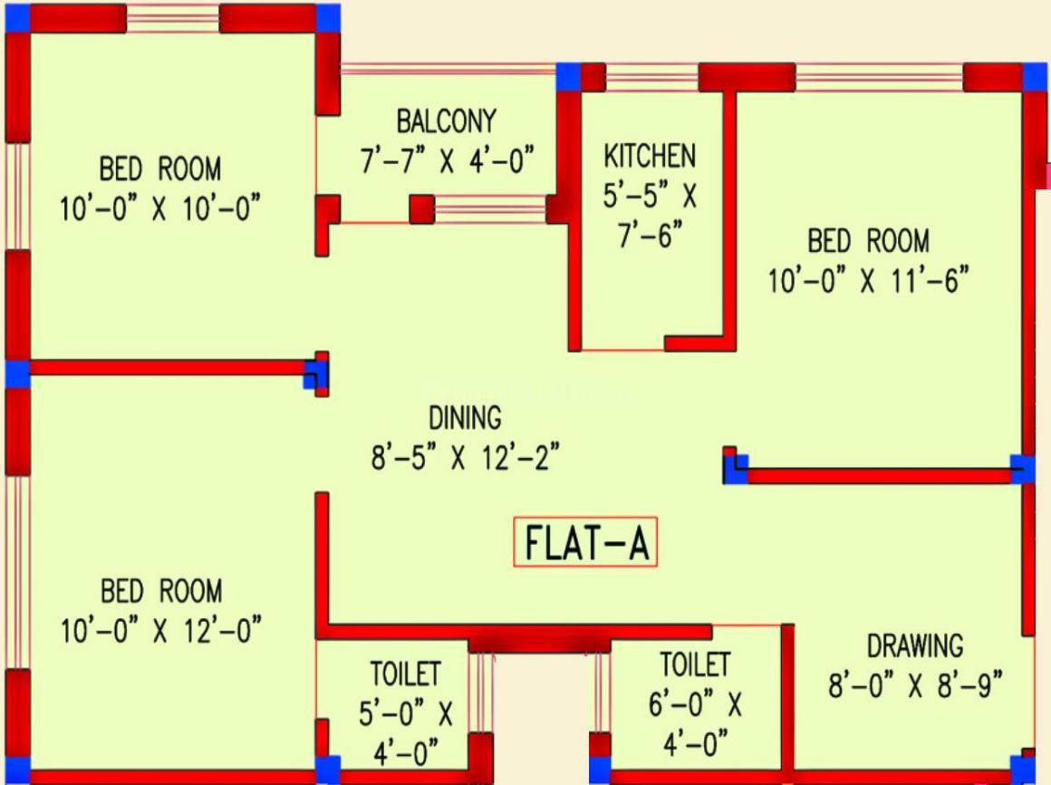 Amrita Sweta Apartment Floor Plan: 2 BHK Unit with Built up area of 1060 sq.ft 1