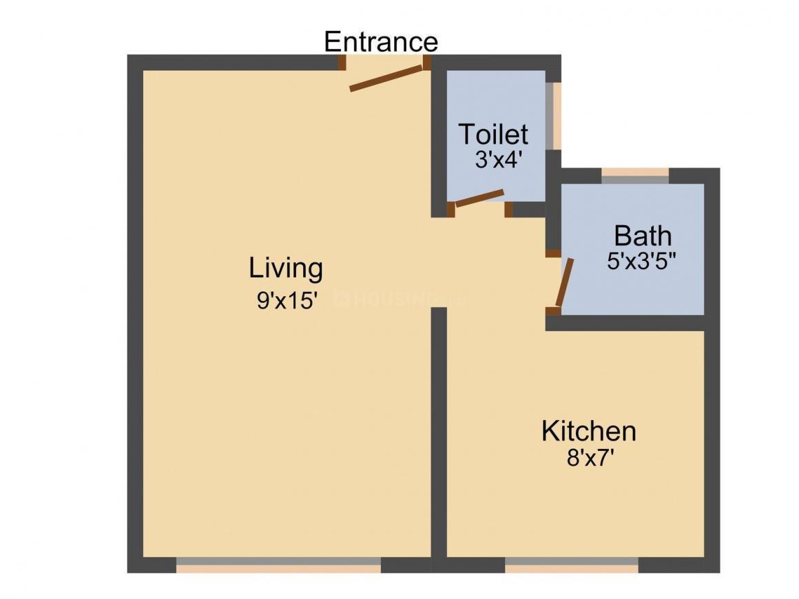 Floor Plan Image of 305 - 625 Sq.ft 1 RK Apartment for buy in Morya Rajaram Residency