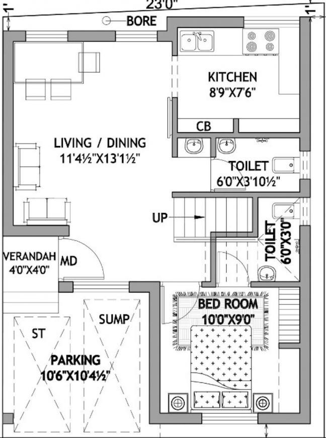 Emmanuel Sriram Floor Plan: 2 BHK Unit with Built up area of 1100 sq.ft 2