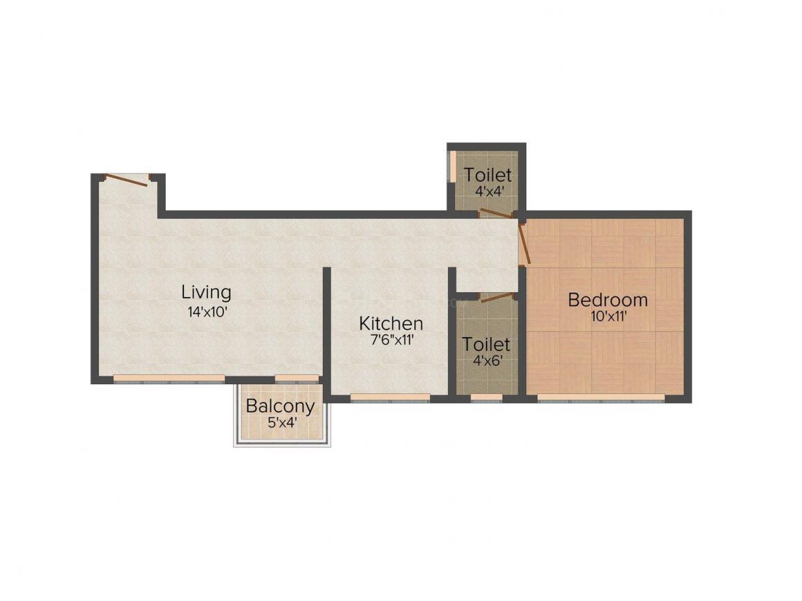 Floor Plan Image of 578.0 - 960.0 Sq.ft 1 BHK Apartment for buy in City Godavari Residency