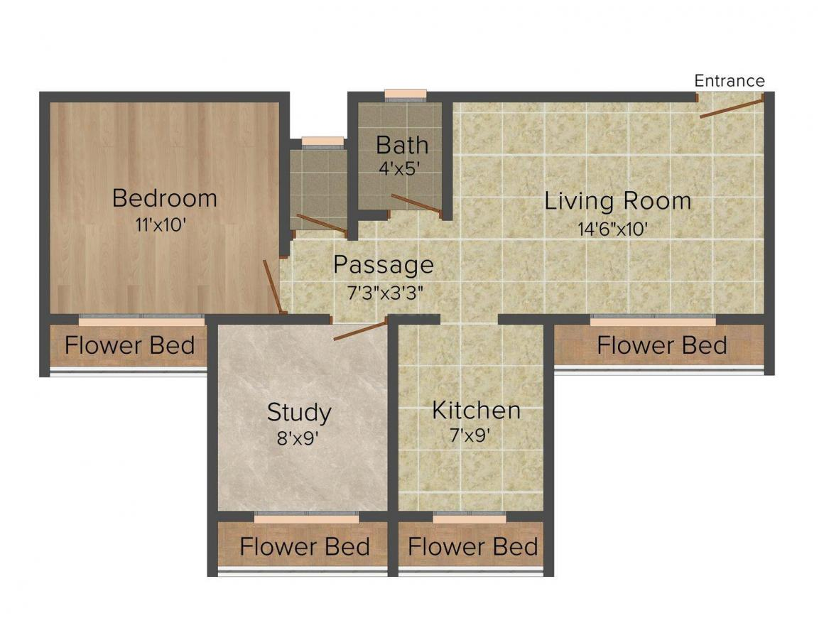 Floor Plan Image of 550 - 900 Sq.ft 1 BHK Apartment for buy in Proviso Green Valley