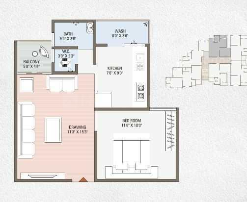 Shree Shakti Aastha 64 Floor Plan: 1 BHK Unit with Built up area of 990 sq.ft 1