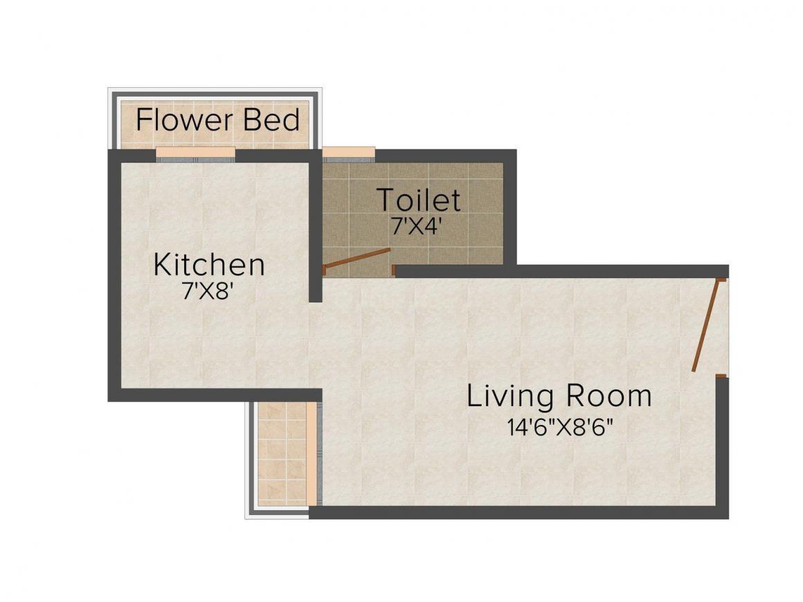 Floor Plan Image of 415.0 - 640.0 Sq.ft 1 RK Apartment for buy in Vrundavan Dham
