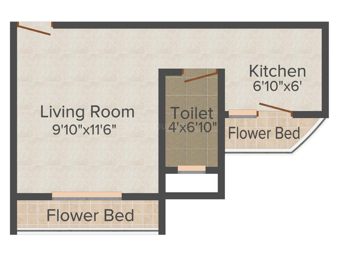 Floor Plan Image of 280.0 - 420.0 Sq.ft 1 RK Apartment for buy in Radiance Maple Woods