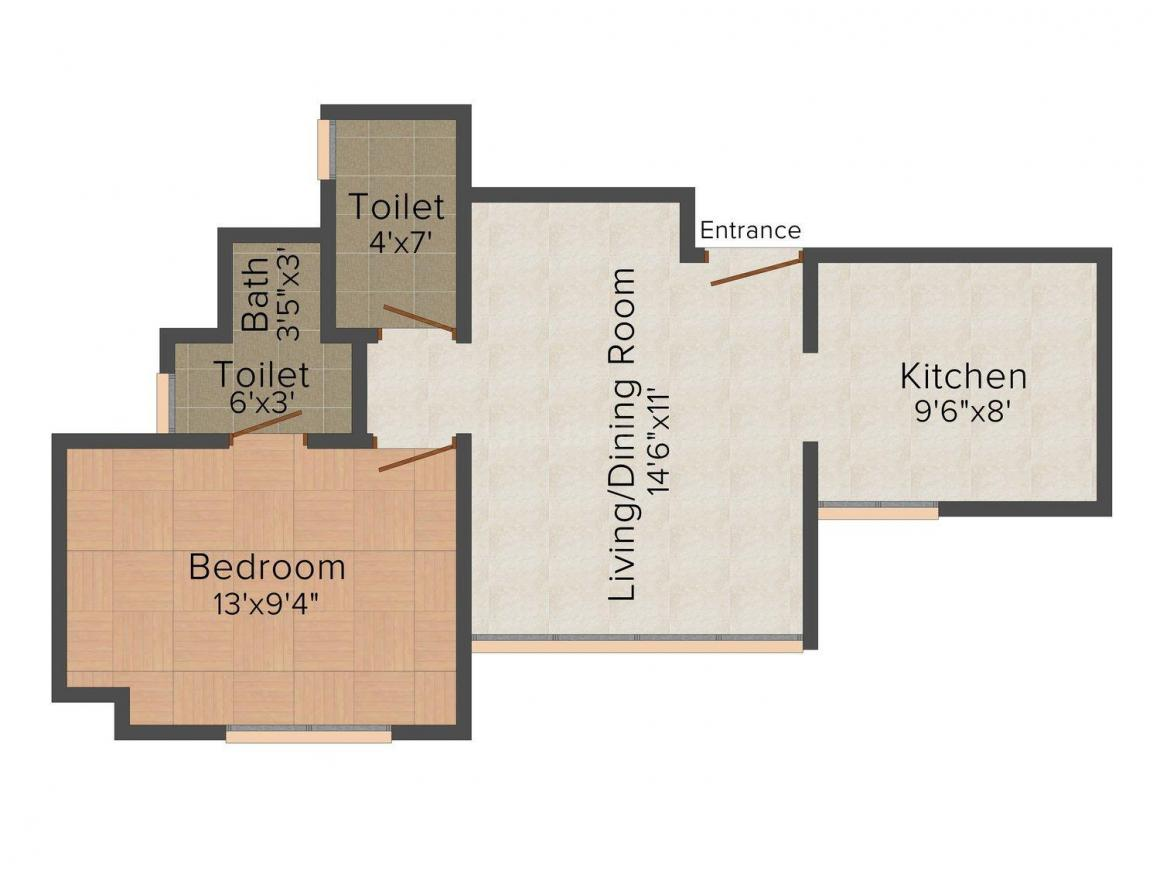 Floor Plan Image of 630.0 - 775.0 Sq.ft 1 BHK Apartment for buy in Terraform Everest Countryside- Marigold